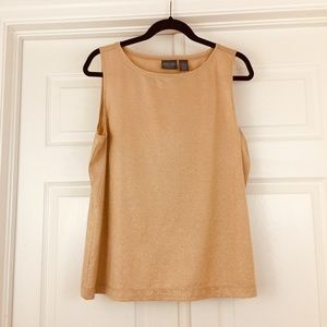 Chico's gold tank top sleeveless shell metallic 3